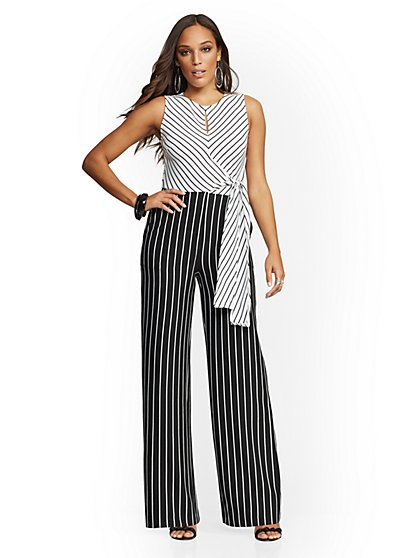 Tall Stripe Tie-Front Jumpsuit - New York & Company