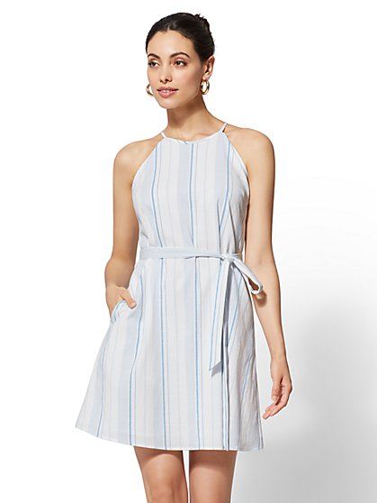 Tall Striped Halter Shift Dress - New York & Company