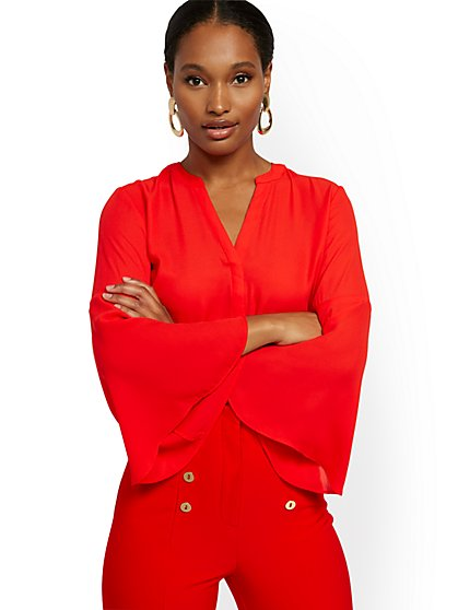 Tall V-Neck Bell-Sleeve Blouse - 7th Avenue - New York & Company