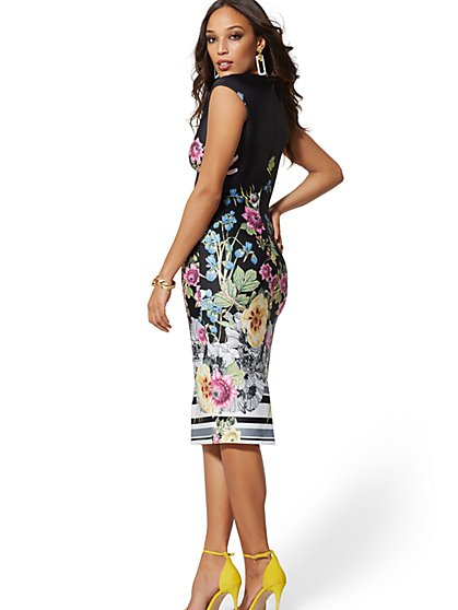 Tall V-Neck Scuba Sheath Dress - Floral - New York & Company