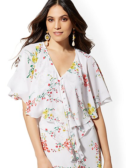 Tall White Floral Ruffle-Overlay Blouse - New York & Company