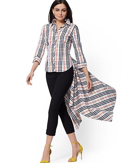 4a3b563e Tall White Plaid Hi-Lo Handkerchief-Hem Shirt - New York & Company ...