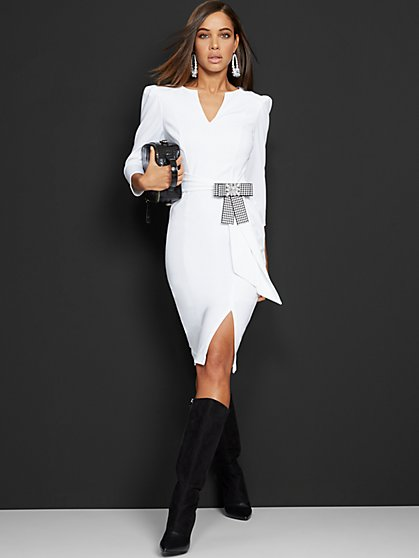 Tall White Tie-Front Sheath Dress - Magic Crepe® - New York & Company