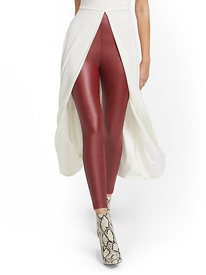 Tall Whitney Faux-Leather High-Waisted Pull-On Slim-Leg Pant - New York & Company