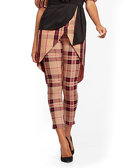 Tall Whitney High-Waisted Pull-On Ankle Pant - Plaid - New York & Company