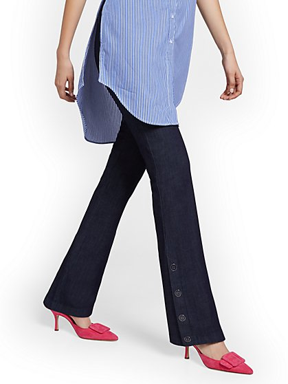 Tall Whitney High-Waisted Pull-On Barely Bootcut Pant - Navy - New York & Company