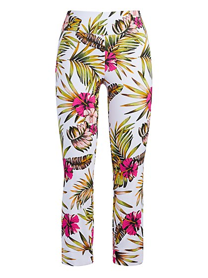 Tall Whitney High-Waisted Pull-On Capri Pant - Tropical Print - New York & Company