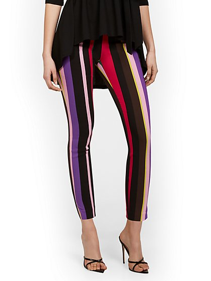 Tall Whitney High-Waisted Pull-On Slim-Leg Ankle Pant - Multi-Stripe - New York & Company