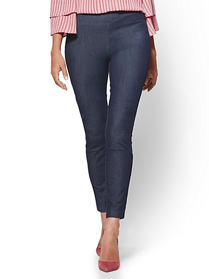 Tall Whitney High-Waisted Pull-On Slim-Leg Ankle Pant - Navy - New York & Company