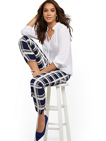 Tall Whitney High-Waisted Pull-On Slim-Leg Ankle Pant - Plaid - New York & Company