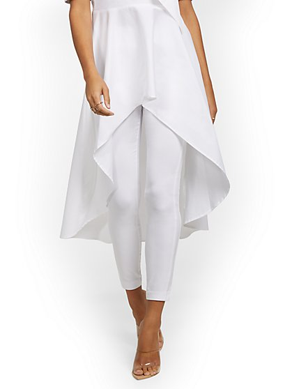 Tall Whitney High-Waisted Pull-On Slim-Leg Ankle Pant - White - New York & Company