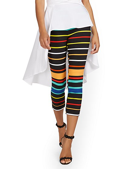 Tall Whitney High-Waisted Pull-On Slim-Leg Capri Pant - Bold Stripe - New York & Company
