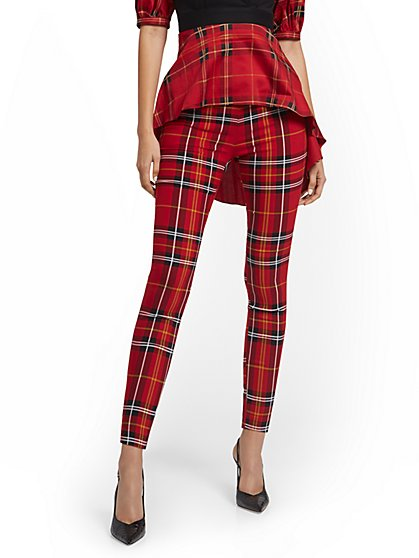 Tall Whitney High-Waisted Pull-On Slim-Leg Pant - Plaid - New York & Company