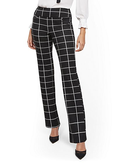Tall Whitney High-Waisted Pull-On Straight-Leg Pant - Black Plaid - Ponte - 7th Avenue - New York & Company