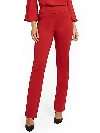 Tall Whitney High-Waisted Pull-On Straight-Leg Pant - Green Ponte - 7th Avenue - New York & Company