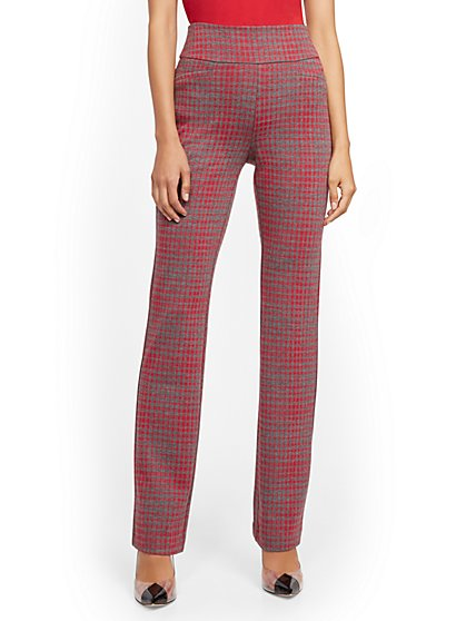 Tall Whitney High-Waisted Pull-On Straight-Leg Pant - Red Plaid - New York & Company