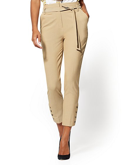 Tan Button-Accent Slim Ankle Pant - 7th Avenue - New York & Company