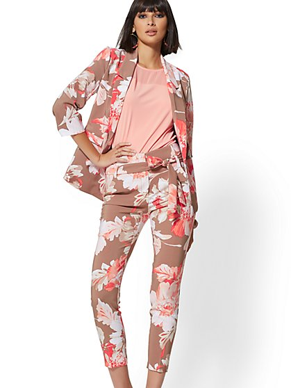 Tan Floral Madie Soft Blazer - 7th Avenue - New York & Company