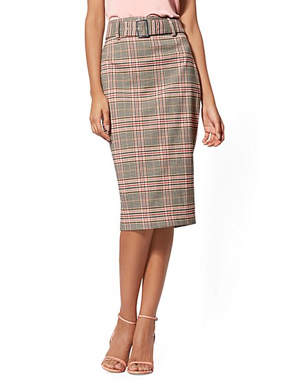 Tan Plaid Belted Pencil Skirt - 7th Avenue - New York & Company