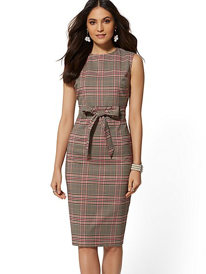 Tan Plaid Belted Sheath Dress - 7th Avenue - New York & Company
