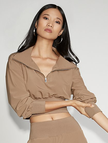 Tan Zip-Front Top - Gabrielle Union Collection - New York & Company