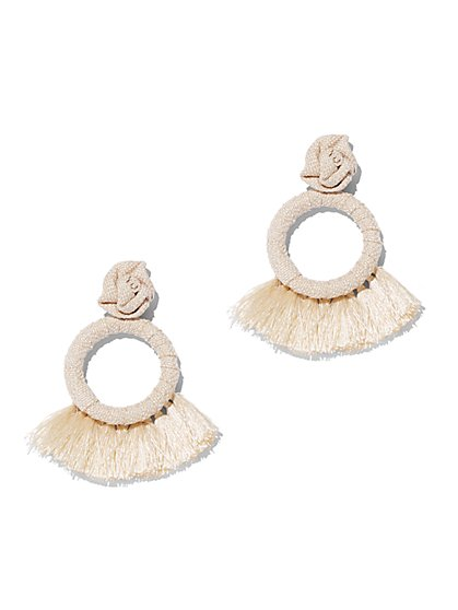 Tassel-Accent Circle Drop Earring - New York & Company