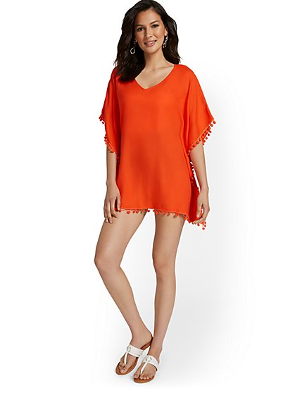 Tassel-Accent Coverup - NY&C Swimwear - New York & Company