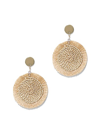 Tassel-Accent Disk Drop Earring - New York & Company