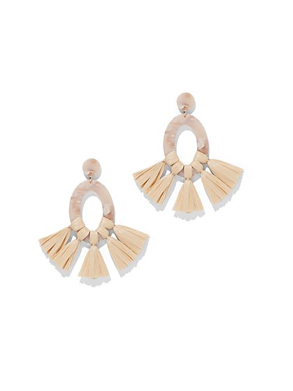 Tassel-Accent Oval Drop Earring - New York & Company