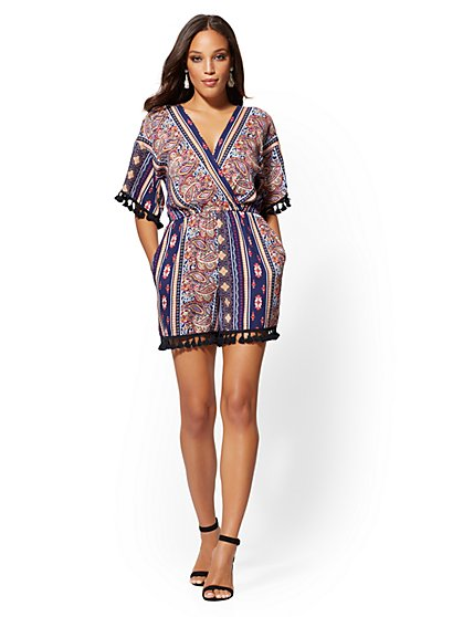 Tassel-Accent Paisley Romper - New York & Company