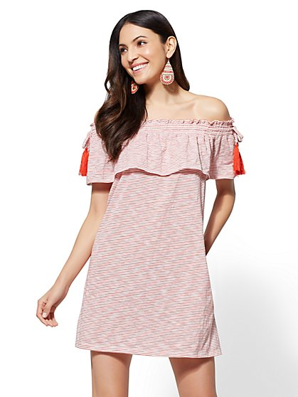 Tassel-Accent Striped Off-The-Shoulder Shift Dress - New York & Company
