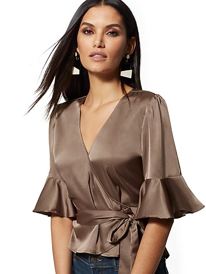 Taupe Flounced-Cuff Wrap Blouse - New York & Company