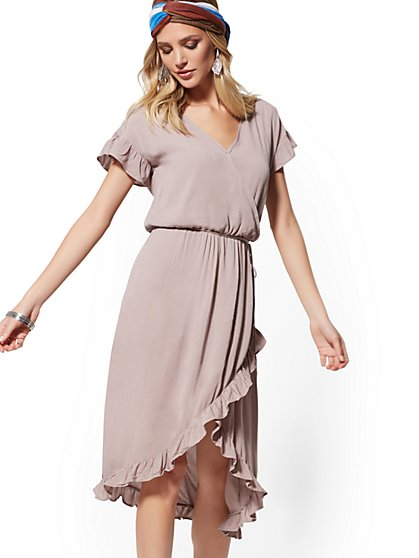 Taupe Ruffle Hi-Lo Wrap Dress - New York & Company