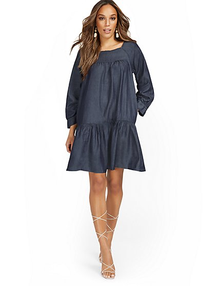 Tencel 3/4-Sleeve Tiered Dress - New York & Company