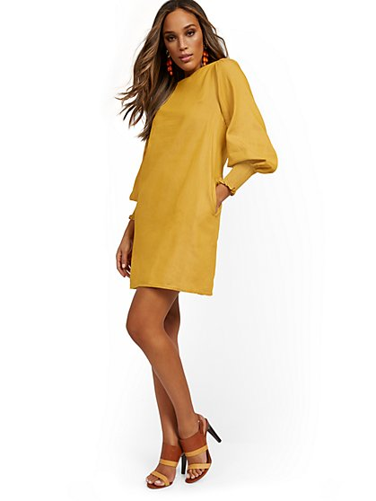 Tencel Balloon-Sleeve Shift Dress - New York & Company