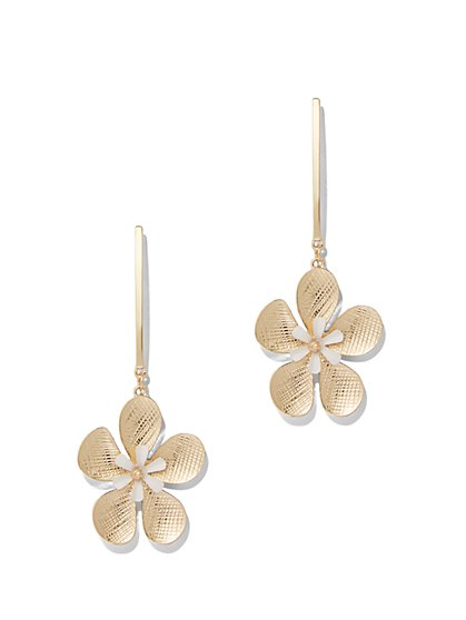 Textured Floral Drop Earring - New York & Company
