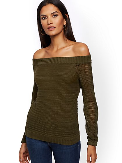 Textured Off-The-Shoulder Sweater - New York & Company