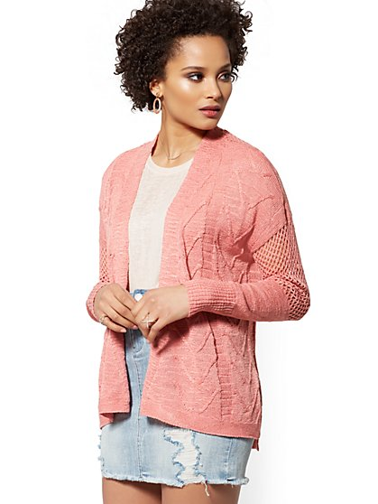 Textured Open-Front Cardigan - New York & Company