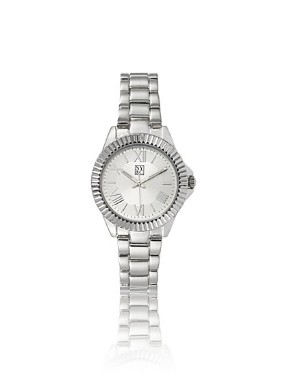 Textured Silvertone Link Watch - New York & Company