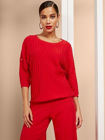 Textured Tab-Sleeve Dolman Sweater - New York & Company