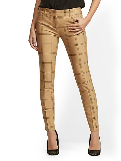The Audrey Pant - Tan Plaid - New York & Company