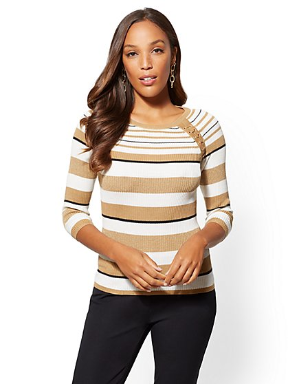 The Emma Metallic Lace-Up Sweater - New York & Company