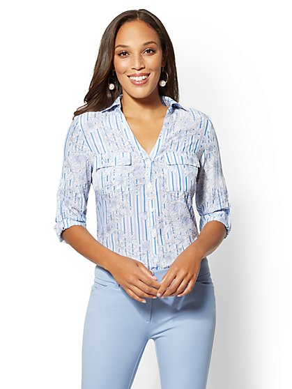 The Kate Shirt - Floral & Stripe - New York & Company