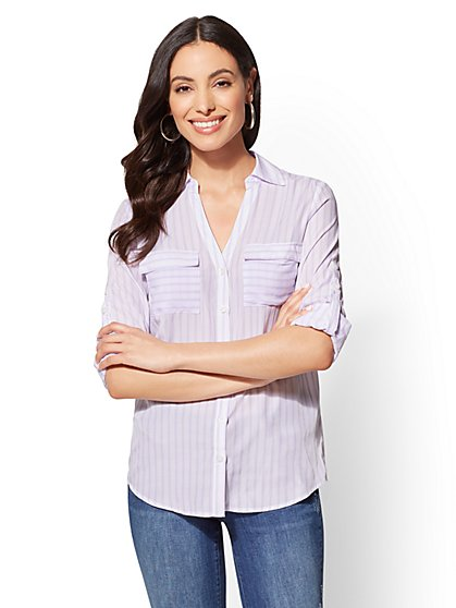 The Kate Shirt - Lavender Stripe - New York & Company
