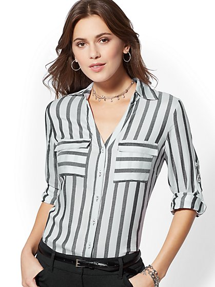 The Kate Shirt - Metallic Stripe - New York & Company