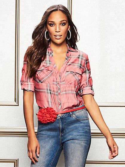 The Kate Shirt - Red Plaid - New York & Company
