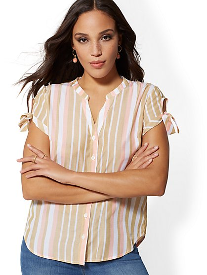 The Kate Shirt - Short-Sleeve - Two-Tone Stripe - New York & Company