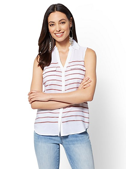 The Kate Shirt - Stripe - Sleeveless - New York & Company