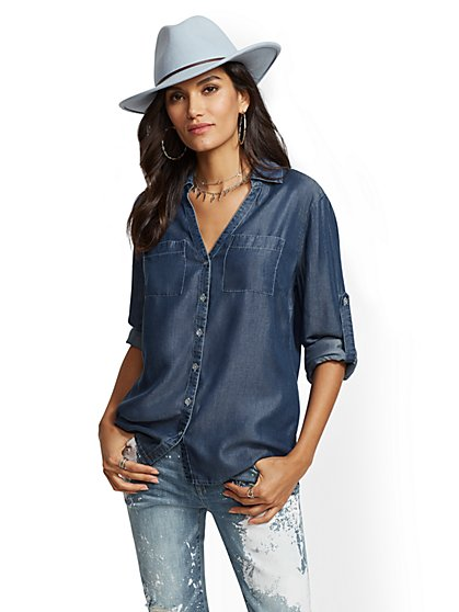 The Kate Shirt - Ultra-Soft Chambray - Indigo - New York & Company