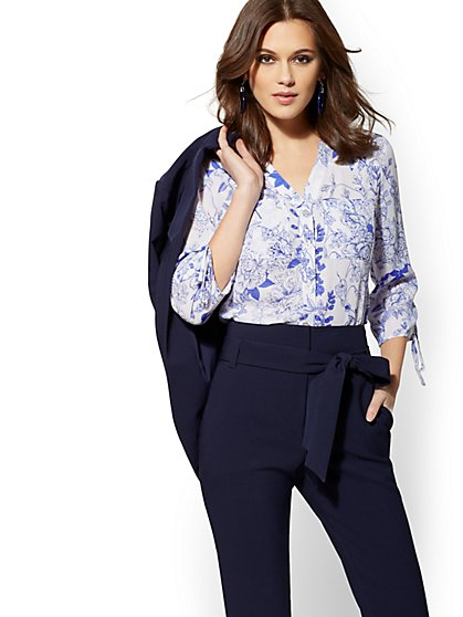 The Meghan Shirt - Blue & White Floral - New York & Company